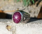 Red Star Ruby One of A Kind Sterling Silver Ring, With Beautiful Red Ruby, Perfect Six Point Star