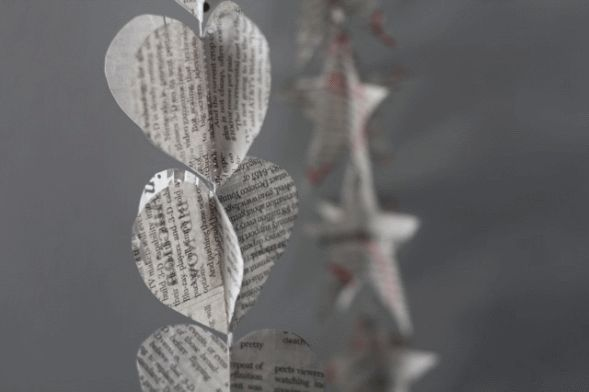 newspaper heart garland