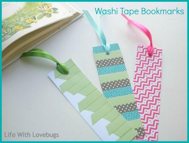Washi Tape Bookmarks   For more washi projects and inspiration visit thewashiblog.com   #washi #washitape