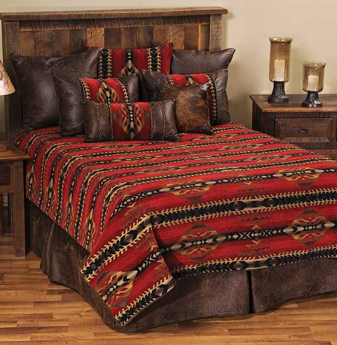 Gallup #Southwest #Bedding - Beautiful southwest bedding in rich reds with sumptuous browns.  Buy at Lights in the Northern Sky www.lightsinthenorthernsky.com