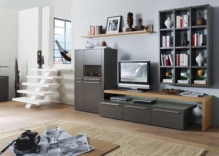Modern Bellano Wall Storage Unit with Bookshelf/Opt LED and Cabinets