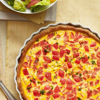 Tomato and Goat Cheese Quiche #recipe