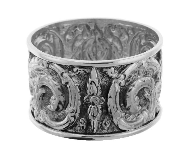 Repousse Scroll Design Sterling Napkin Ring $105.75