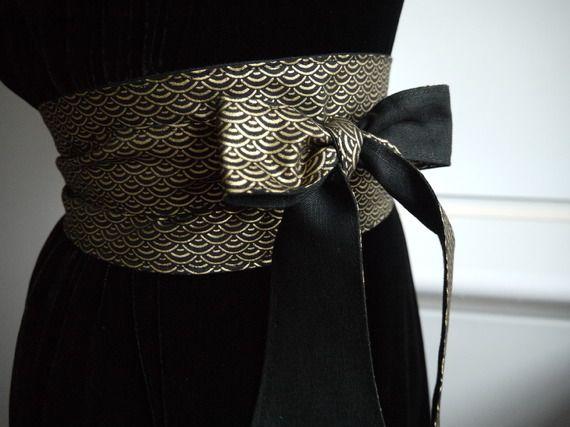 Ceinture OBI, style ceinture japonaise, noir et or, réversible