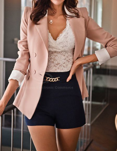 Lapel Collar Long Sleeves Color Block Sweet Style Polyester Blazer For Women on Chiq  $18.05 http://www.chiq.com/lapel-collar-long-sleeves-color-block-sweet-style-polyester-blazer-women