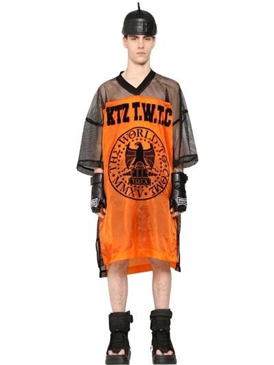 KTZ - OVERSIZED PRINTED NYLON & MESH T-SHIRT - LUISAVIAROMA - LUXURY SHOPPING WORLDWIDE SHIPPING - FLORENCE