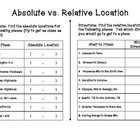 Worksheet Absolute Location Worksheet student five themes of geography and a compass on pinterest absolute relative locations make up the first location
