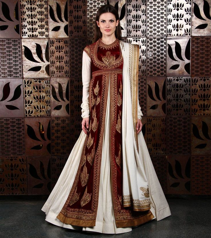 Maroon Velvet & Chanderi Anarkali Suit With Aari Embroidery if you're planning to seek sartorial solace in the splendour of the Mughal era inspired silhouette, then bookmark these Anarkali suits that will make you fall in love, with every kali.