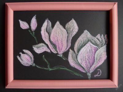 D. Praislerová (danielapraisler) - Magnolie - - zarámovaný originální obraz (pastel) - 25x20 cm