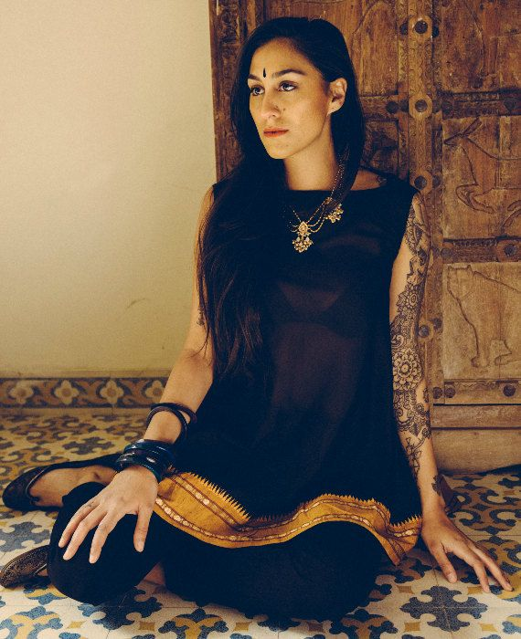 Black and Ochre Flared Top Crafted from saree by MograDesigns on Etsy