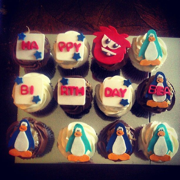 Club Penguin Cupcake toppers.