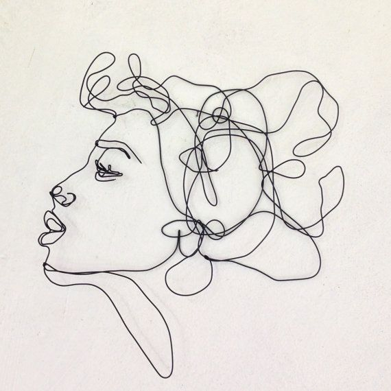 Custom Order for Anna - Kiss Profile of a woman with an overwhelming tuft of hair. This figurative wire wall sculpture is perfect for fashion addicted, personal shopper and stylist. This is a fun decorative piece and would be a great gift for fashion lovers. Measures about 14 1/2 x 12 1/2 inches