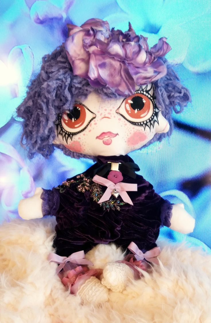 TootsieDOLL Baby METTE/Art doll/Handmade dolls/OOAK/Christmas/Collectible dolls/ violet doll/Rag dolls/Fashion dolls by TootsieDollsByTeo on Etsy