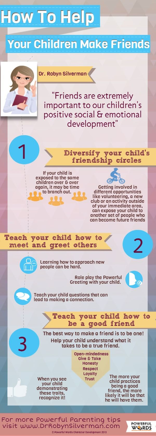 A great #Infographic for parents who need help teaching their children how to make or be good friends! #Friendship is the #PowerfulWord of month! http://www.drrobynsilverman.com/