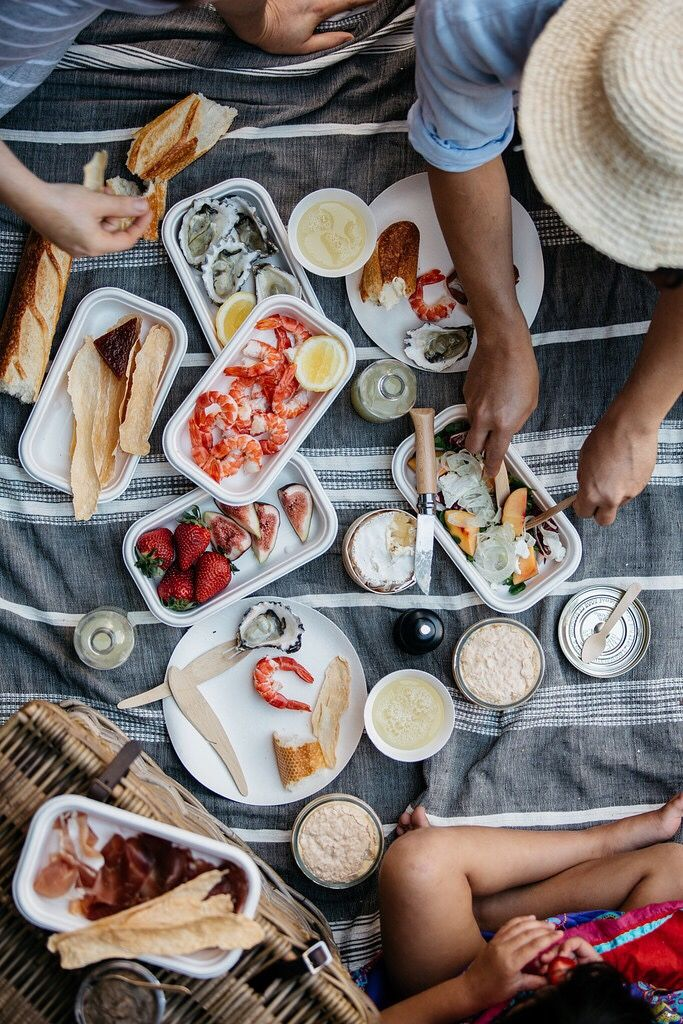 Picnic with friends. Summer food idea