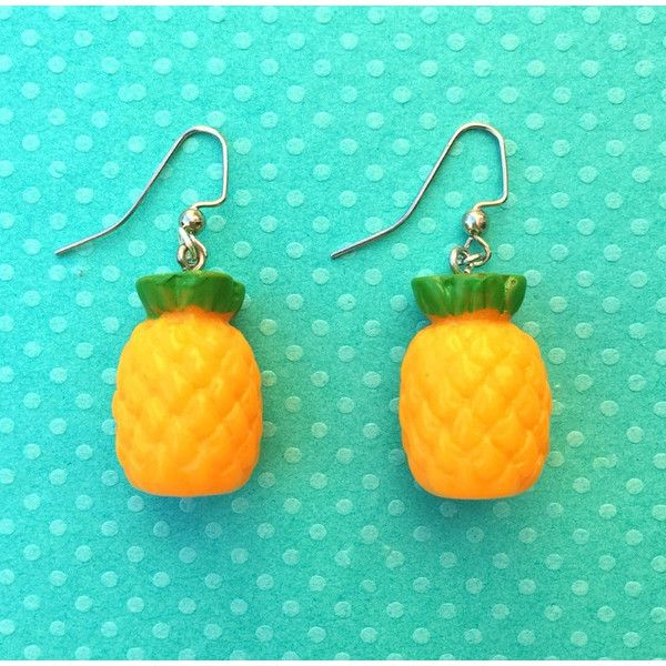 """Femme Fruit Collection """"Pineapple Party"""" Pinapple Dangle Earrings ($7.50) ❤ liked on Polyvore featuring jewelry, earrings, charm earrings, pineapple earrings, nickel free earrings, pineapple jewelry and dangle earrings"""