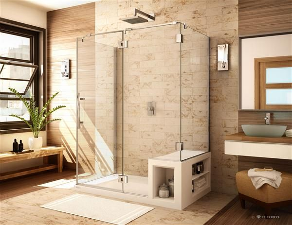 Fleurco Platinum 3 Sided Door Fixed Panel With 2 Return Panels, Glass To  Glass Hinges; With Urbana Shower Base With Seat.