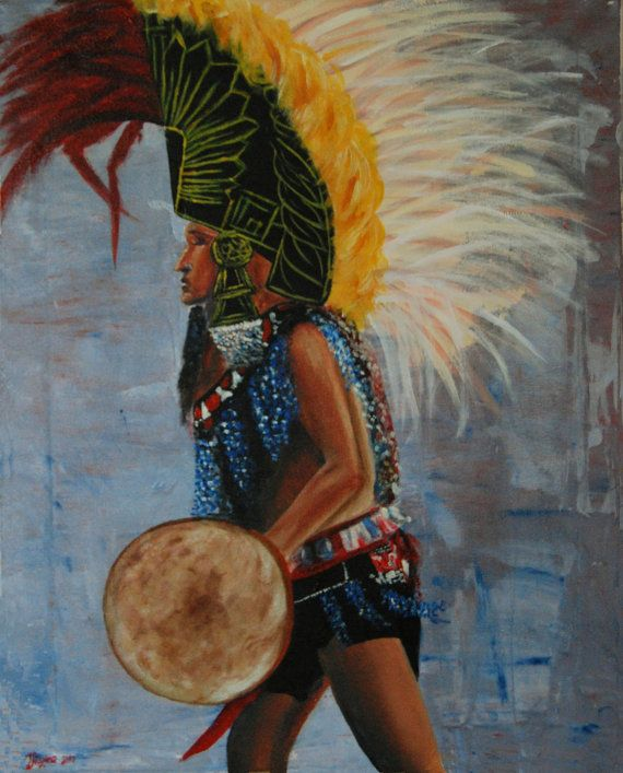 Mexican aztec warrior dancing with feather headpiece by EzicArts, €160.00