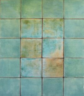 butchers blue wall tile aqua glaze with hints of tan