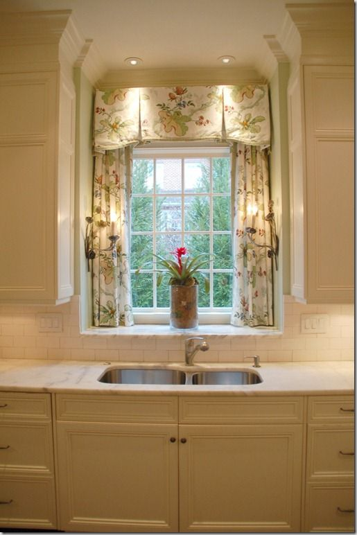 Inverted Pleat Valance With Trim Over Panels In Sink