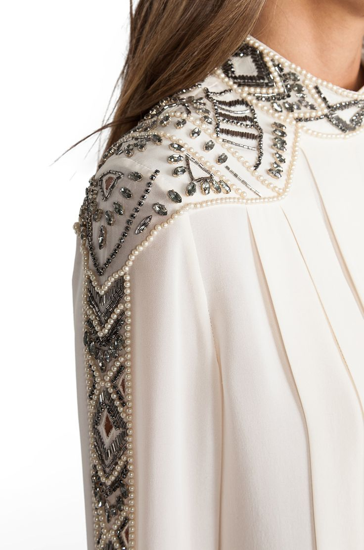Haute Hippie Embellished Pleated Blouse in Swan & Pearl & Black Diamond | REVOLVE