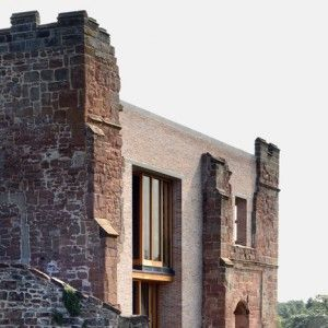 Modern house built in castle ruins. Modern castle. Astley Castle renovation by Witherford Watson Mann