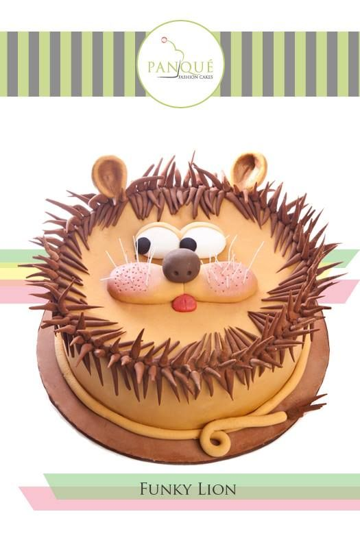 FUNKY LION / pastel de cumpleaños, bautizo, confirmación, comunión o fiesta de niños con figuras de animales.