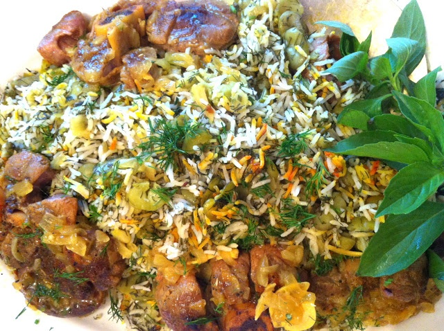 {persian} baghali polow (fava bean rice with dill) served with saffron braised veal shanks: DELICIOUS!!