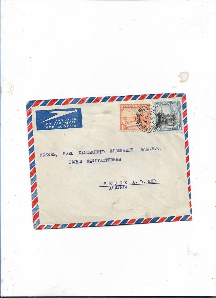 Brief Von Zypern Nikosia Nach Bruck Osterreich 1950 Zypern Osterreich Brief
