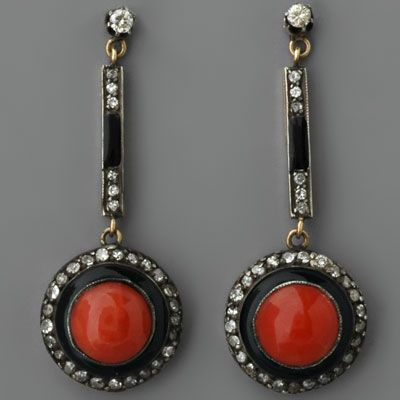 Art Deco Coral Earrings / Special Order