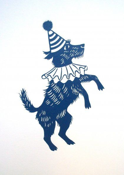 'Circus Dog' by Emily Sutton (linocut)