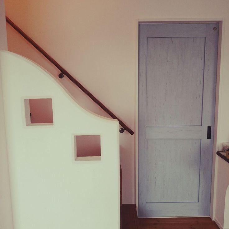 バス トイレ ドア 新築 漆喰壁 階段 などのインテリア実例 2016 04 19 13 17 22 Roomclip ルームクリップ 模様替え ドア インテリア