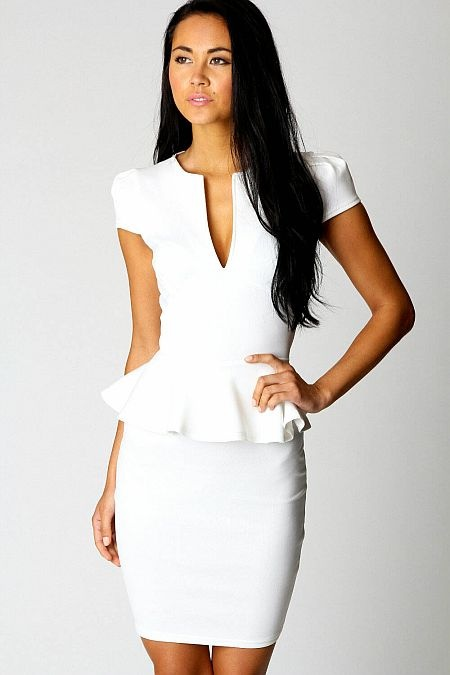 Lorna Slit Front Peplum White Evening Dress    Cap Sleeve White Peplum Dress