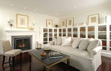 Study with Gas Insert Fireplace - contemporary - living room - boston - Charlie Allen Renovations, Inc.