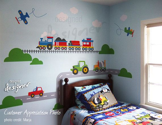 Transportation Wall Decal - children Wall Decals - Train, Airplane, Truck, Car wall decal - Wall Sticker dd1065 via Etsy