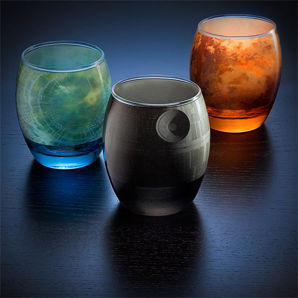 Elegant Glassware Modeled After Star Wars Planets, Moon, and Death Star