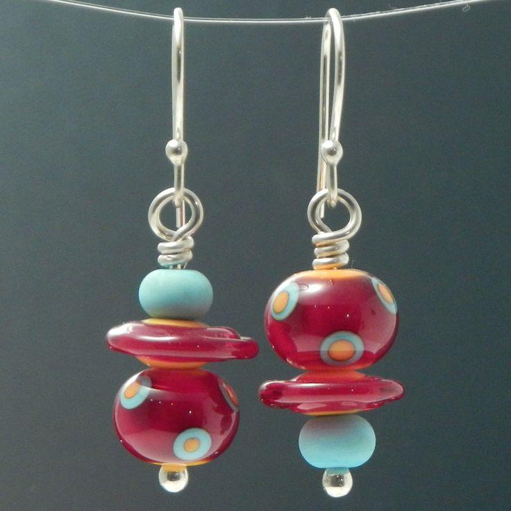 Assymetric Earrings, lampwork earrings, glass earrings, artisan earrings, red, turquoise, orange, multicolored earrings, artistic earrings by LarissaSpafford on Etsy https://www.etsy.com/listing/180676281/assymetric-earrings-lampwork-earrings