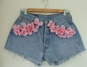 Levis Shorts with pink Silk  roses Flowers