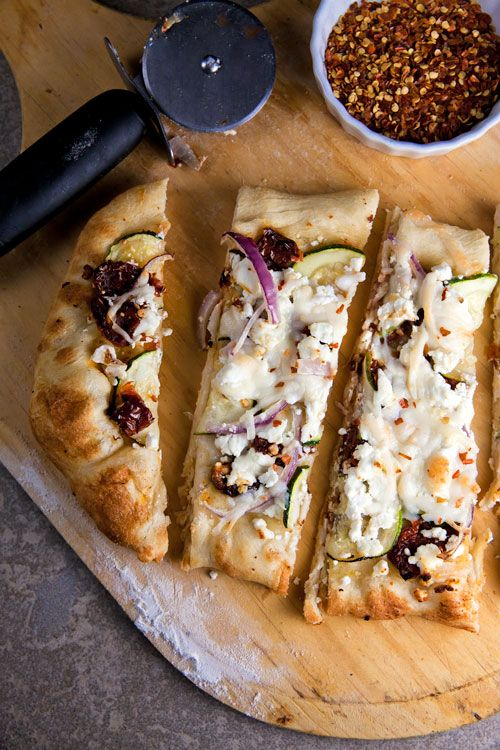 Sundried Tomato and Zucchini Pizza with Goat Cheese