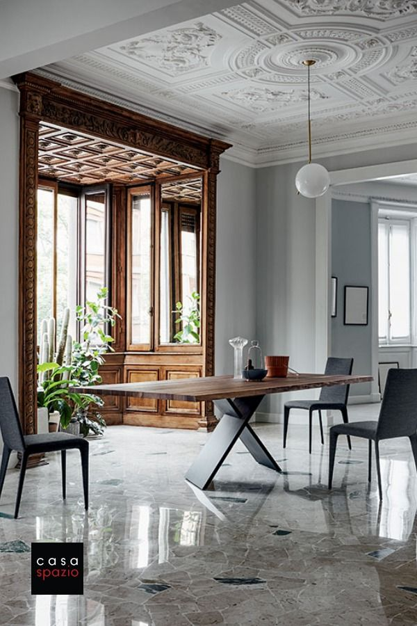 Bonaldo Ax Wood Dining Table Fixed In 2020 Modern Dining Room