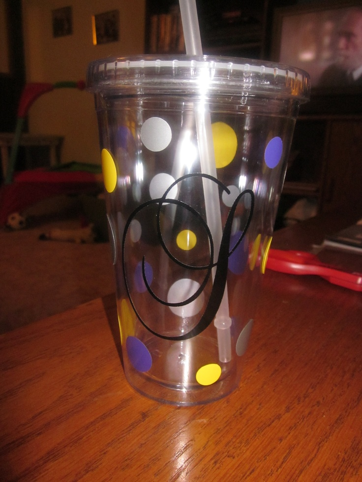 Pin by elisabeth gawne on things i made from pinterest for Vinyl letters for plastic cups