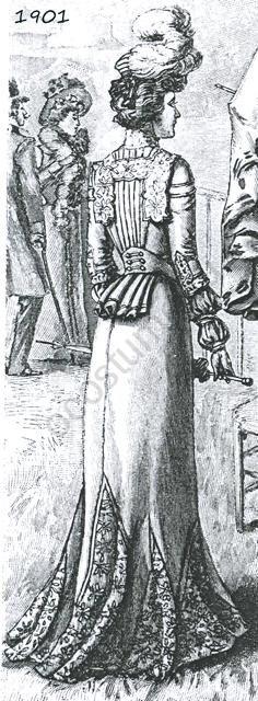 Нарядное женское платье для посещения скачек. Юбка из клиньев с кружевными ставками, жакет на спинке собран батовыми складками. 1901 год