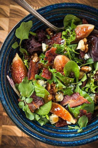 Fig, Bacon, & Blue Cheese Salad with Fig Balsamic Dressing
