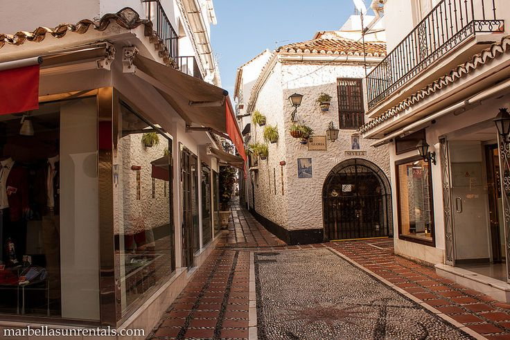 Streets in Old Town, with alley going to Orange Square, Marbella