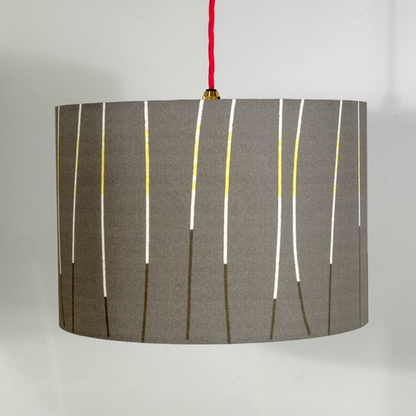 Lampshade charcoal lines a new range of hand made fabric lampshades designed by earthworks
