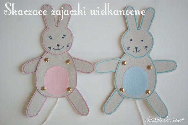 Skaczące zajączki wielkanocne na sznurku z ruchomymi łapkami zabawka dla dzieci. Easter bunnies on a rope with moving paws, for children. diy
