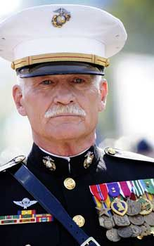 "Dale Adam Dye (Class of '81) (born October 8, 1944) is an American actor, presenter, businessman, and retired U.S. Marine captain who served in combat during the Vietnam War. Dye is what is known in military parlance as a ""mustang"", i.e., someone who began as an enlisted service member and earned their commission after enlistment, in Dye's case rising all the way from Private to Captain."