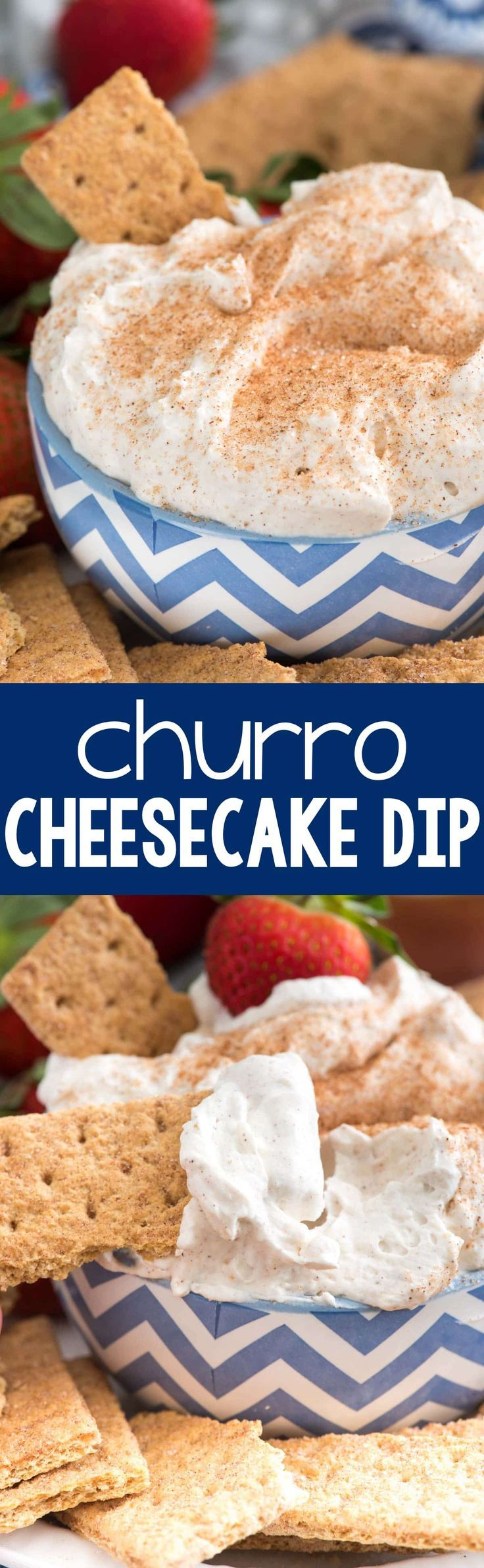 Churro Cheesecake Dip - an easy way to make no-bake cheesecake dip full of cinnamon sugar churro flavor! This is perfect for parties or an easy dessert; we loved it! (Bake Cheesecake Topping)