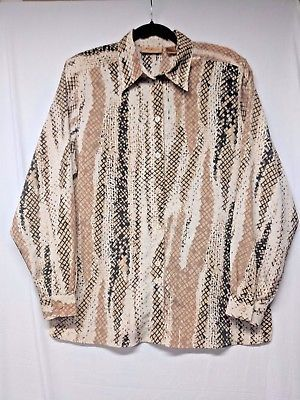 MILANO-BLOUSE-14-BROWN-BEIGE-BLACK-ANIMAL-PRINT-PLEATS-THREW-OUT-BLOUSE-NEW