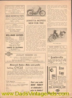 The world famous Jawa motorcycle factory has extended its range of two wheel vehicles to include two models of a new 50cc moped intended to serve as a suitable means of transportation between a bicycle and a motorcycle...Shown: 50cc Jawetta Moped & 50cc Jawetta Sport.  Original, vintage magazine ar